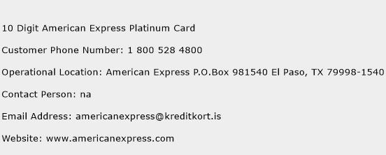 10 Digit American Express Platinum Card Phone Number Customer Service