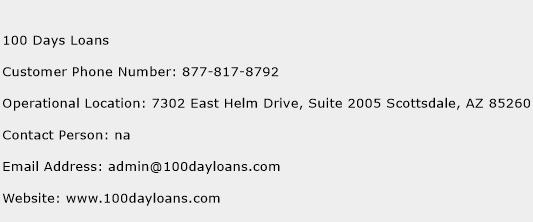 100 Days Loans Phone Number Customer Service