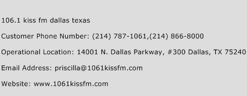 106.1 Kiss Fm Dallas Texas Phone Number Customer Service