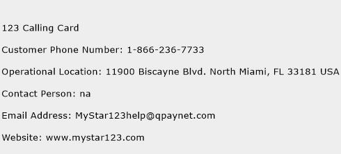 123 Calling Card Phone Number Customer Service