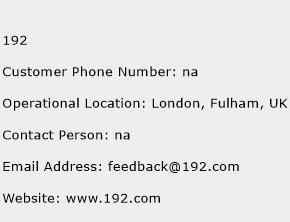 192 Phone Number Customer Service