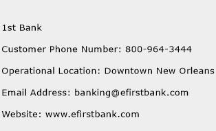 1st Bank Phone Number Customer Service