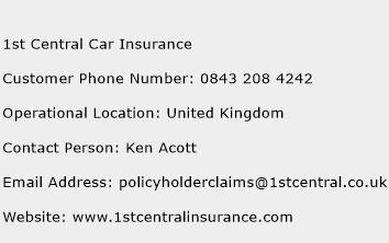 1st Central Car Insurance Phone Number Customer Service