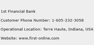 1st Financial Bank Phone Number Customer Service