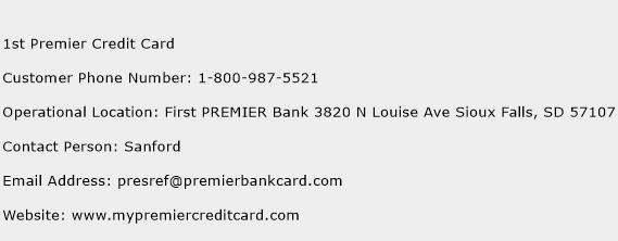 1st Premier Credit Card Phone Number Customer Service