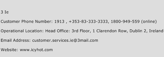 3 Ie Phone Number Customer Service