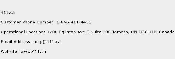 411.ca Phone Number Customer Service