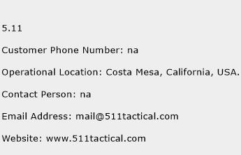 5.11 Phone Number Customer Service
