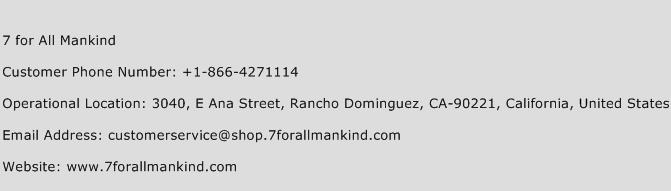 7 for All Mankind Phone Number Customer Service