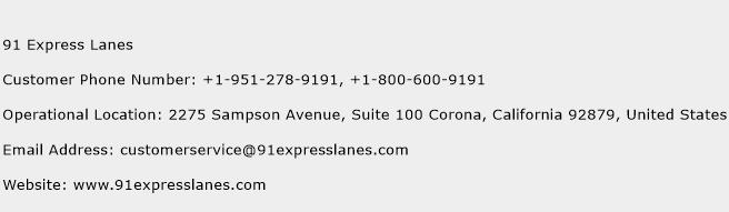 91 Express Lanes Phone Number Customer Service