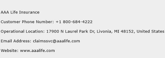 AAA Life Insurance Phone Number Customer Service