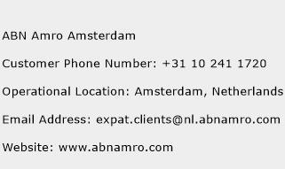 ABN Amro Amsterdam Phone Number Customer Service