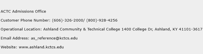ACTC Admissions Office Phone Number Customer Service