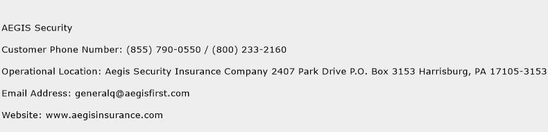 AEGIS Security Phone Number Customer Service