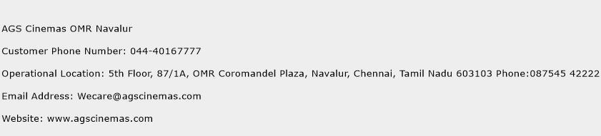 AGS Cinemas OMR Navalur Phone Number Customer Service
