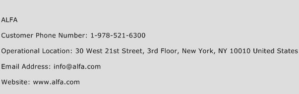 ALFA Phone Number Customer Service