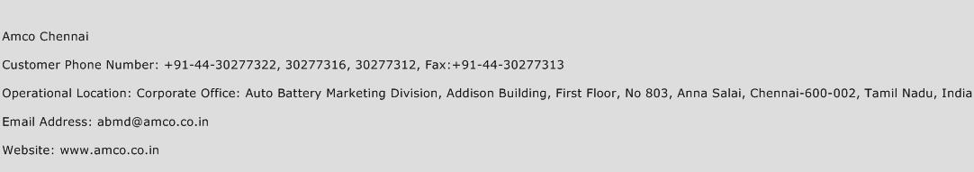 AMCO Chennai Phone Number Customer Service