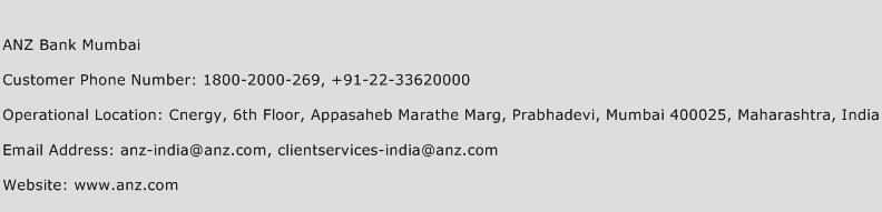 ANZ Bank Mumbai Phone Number Customer Service