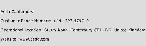 ASDA Canterbury Phone Number Customer Service
