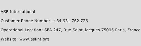 ASF International Phone Number Customer Service