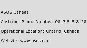 Asos Canada Phone Number Customer Service