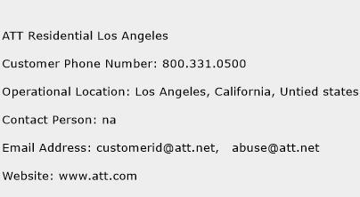 ATT Residential Los Angeles Phone Number Customer Service