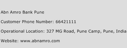 Abn Amro Bank Pune Phone Number Customer Service