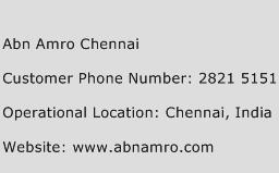 Abn Amro Chennai Phone Number Customer Service