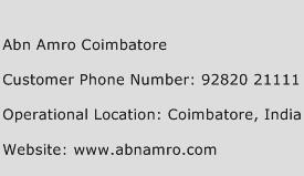 Abn Amro Coimbatore Phone Number Customer Service