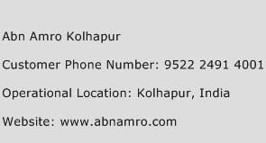 Abn Amro Kolhapur Phone Number Customer Service