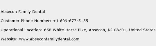 Absecon Family Dental Phone Number Customer Service