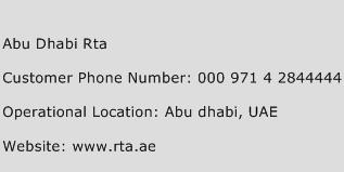 Abu Dhabi Rta Phone Number Customer Service