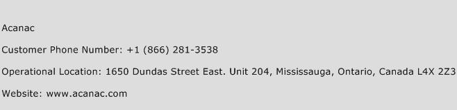 Acanac Phone Number Customer Service