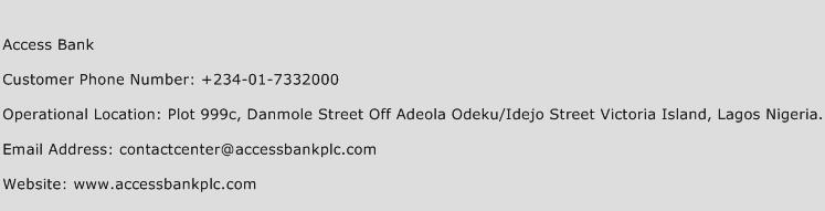 Access Bank Phone Number Customer Service