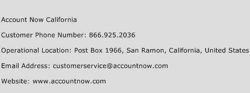 Account Now California Phone Number Customer Service
