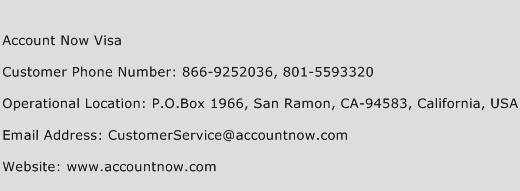 Account Now Visa Phone Number Customer Service
