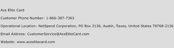 Ace Elite Card Phone Number Customer Service
