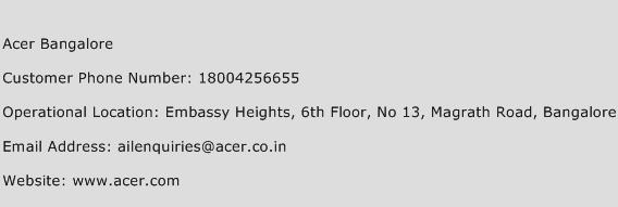 Acer Bangalore Phone Number Customer Service