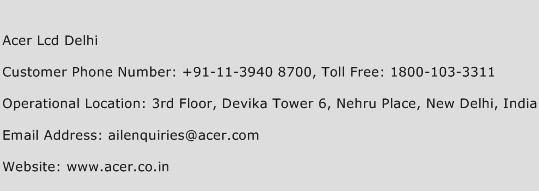 Acer Lcd Delhi Phone Number Customer Service