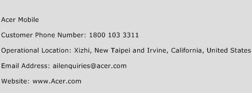 Acer Mobile Phone Number Customer Service