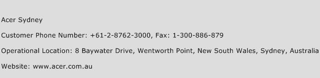 Acer Sydney Phone Number Customer Service
