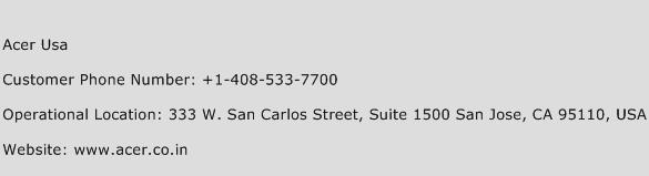 Acer USA Phone Number Customer Service