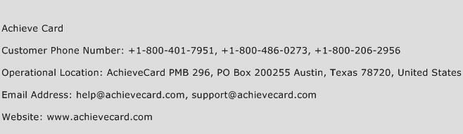 Achieve Card Phone Number Customer Service