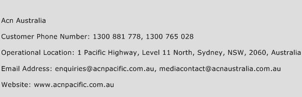 Acn Australia Phone Number Customer Service