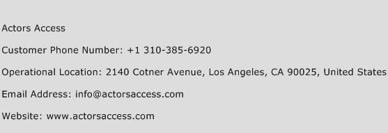 Actors Access Phone Number Customer Service