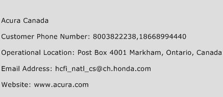 Acura Canada Phone Number Customer Service