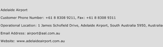 Adelaide Airport Phone Number Customer Service