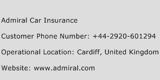 Admiral Car Insurance Phone Number Customer Service