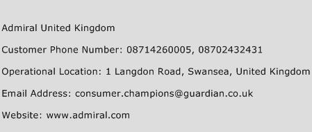 Admiral United Kingdom Phone Number Customer Service