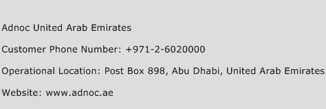 Adnoc United Arab Emirates Phone Number Customer Service